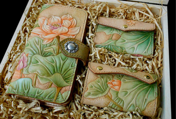 Handcraft hand painting lotus flower leather long/keys/card wallet for women