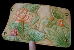 Handmade Womens Long Wallet tooled lotus flower leather long wallet for women