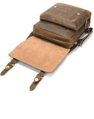 Vintage Brown Leather Men's 14inch Laptop Backpack College Backpack For Men