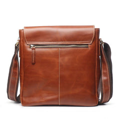 Vintage Leather Men's Small Side Bag Vertical Messenger Bag Shoulder Bag For Men
