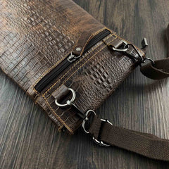 Badass Brown Leather Men's Small Vertical Shoulder Bag Side Bag Courier Bag Messenger Bag For Men