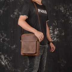 Vintage Leather Men's Small Side Bag Table Bag Small Messenger Bag For Men