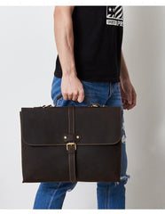 Vintage LEATHER MENS BRIEFCASE BUSINESS Bag VINTAGE 14inch Laptop SHOULDER BAG HANDBAGS FOR MEN