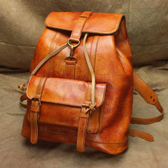 Vintage Lambskin Brown Leather Men's 14'' Laptop Backpack Black Satchel Backpack For Men
