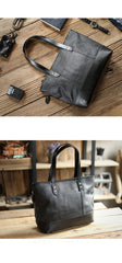 Fashion Coffee Leather Men Womens 14 inches Black Tote Bag Shoulder Tote Bag For Men