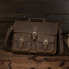 Vintage Brown Leather Men's Professional Briefcase 13'' Laptop Shoulder Briefcase For Men