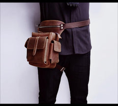Cool Brown Leather Men's Drop Leg Bag Small Side Bag Belt Pouch Waist Bag For Men