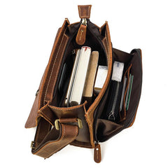Vintage Brown  Leather Men's Small Side Bag Vertical Messenger Bag Tablet Bag For Men