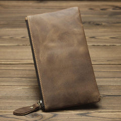 MENS LEATHER SLIM ZIPPER CLUTCH WALLET Zipper Long Wallet FOR MEN