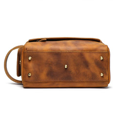 Cool Brown Leather Men's Box Clutch Bag Portable Bag Mini Handbag for Men