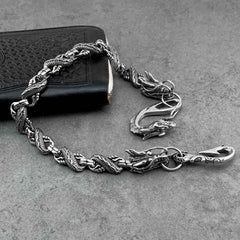 Cool Silver Dragon Mens Biker Wallet Chain STAINLESS STEEL Pants Chain Wallet Chain For Men