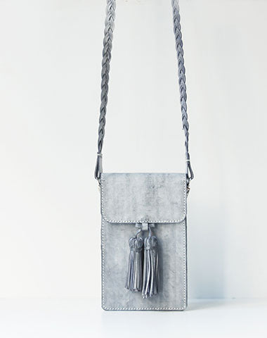 Handmade leather gray purse phone bag shoulder bag cossbody bag purse women