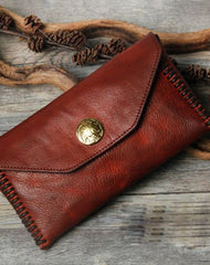 Handmade biker chain wallet long wallet leather men phone clutch vintage wallet for men