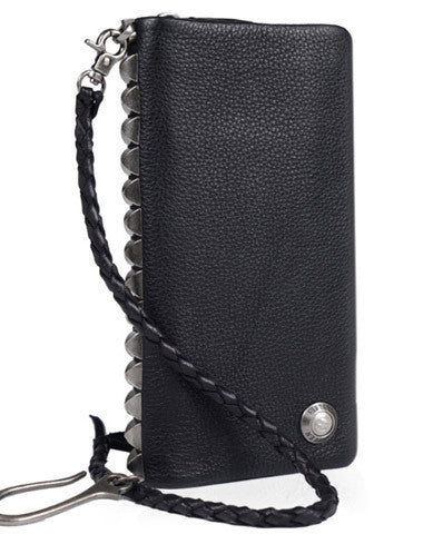 Leather biker trucker wallet leather chain men Black zip chain long wallet