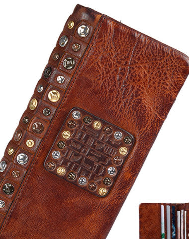 Handmade long wallet leather men rivet clutch vintage wallet for men