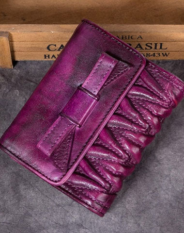 Genuine Leather Wallet Folded Short Wallet Vintage Bowknot Wallet Purse Cute Gift For Women