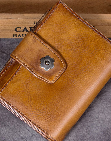 Genuine Leather Wallet Short Wallet Vintage Wallet Purse Fo Women