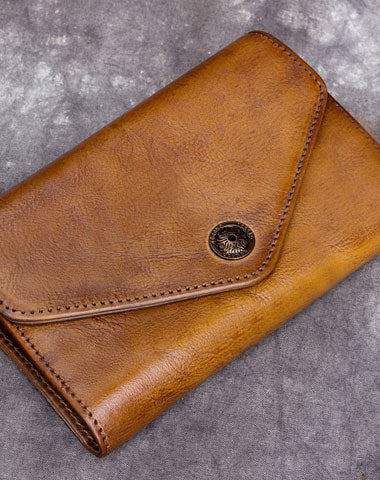 Genuine Leather Wallet Vintage billfold Wallet Bifold Wallet Purse For Men Women