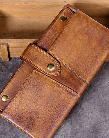 Genuine Leather Wallet Long Wallet Vintage Wallet Purse For Men Women