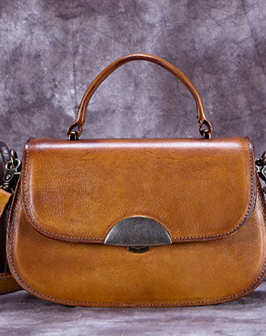 Genuine Leather Handbag Vintage Satchel Bag Shoulder Bag Crossbody Bag Purse For Women