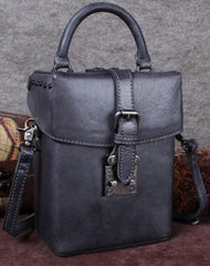 Genuine Leather Handbag Vintage Box Crossbody Bag Geometric Shoulder Bag Purse For Women