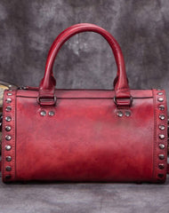 Vintage Leather Boston Handbag Rivet Shoulder Bag Purses For Women