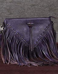 Genuine Leather Bag Vintage Rivet Tassel Bag Crossbody Bag Shoulder Bag Purse For Women