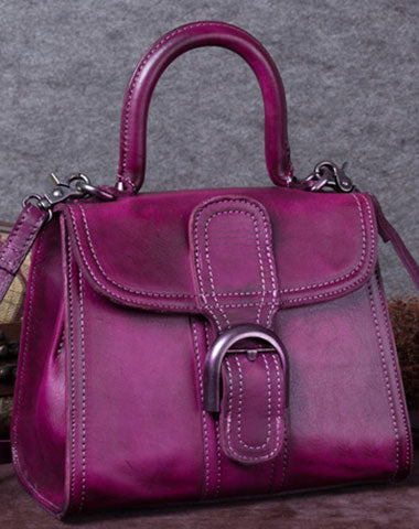 Genuine Leather Handbag Vintage Saddle Bag Shoulder Bag Crossbody Bag Purse For Women