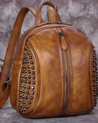 Genuine handmade Leather backpack bag rivet shoulder bag women leather purse