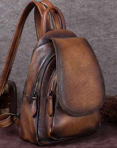 4162fb89721 Vintage Womens Leather Backpack School Backpack Purse Small Backpack For  Women
