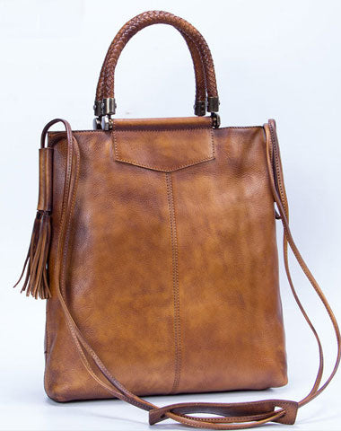 Genuine Leather Handbag Vintage Tote Woven Tassel Crossbody Bag Shoulder Bag Purse For Women
