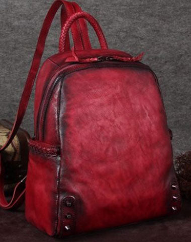 Genuine handmade Leather backpack bag shoulder bag girls women leather purse