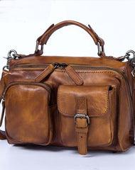 Genuine Leather Handbag Vintage Messenger Bag Crossbody Bag Shoulder Bag Purse For Women