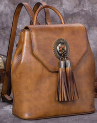 Genuine Handmade Leather Backpack Bag Tassel Vintage Shoulder Bag Women Leather Purse