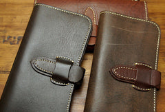 Handmade biker wallet leather with chain coffee red brown Long wallet purse for men