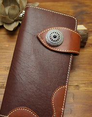 Handmade biker wallet leather with chain brown red brown Long wallet purse for men