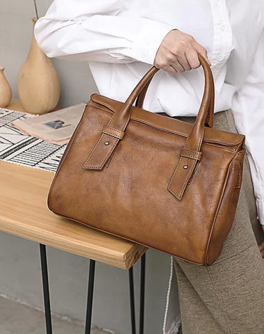 Vintage Brown Ladies Leather Handbag Purse Red Work Handbag Shoulder Purse for Women