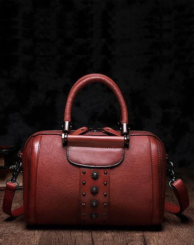 Red Vintage Womens Leather Boston Handbag Purse Black Side Bag Boston Purse for Ladies