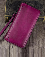Purple Womens Vintage Leather Green Long Wallet Zipper Brown Clutch Long Wristlet Wallet for Ladies