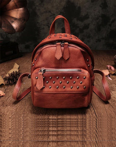 Vintage Brown Leather Womens Backpacks Small Black Leather Backpack for Ladies