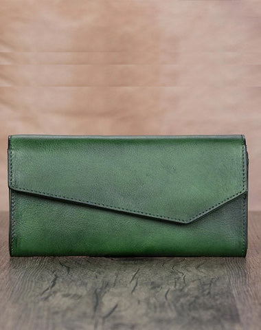 Green Vintage Womens Genuine Leather Long Folded Wallet Brown Clutch Phone Purses for Ladies
