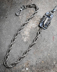Badass Men's Silver Scorpion Long Pants Chain Punk Biker Wallet Chain For Men