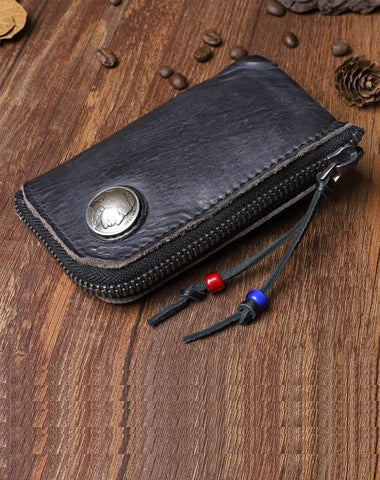 Retro Handmade Mens Leather Key Purse Black Car Key Wallet Card Wallet For Men