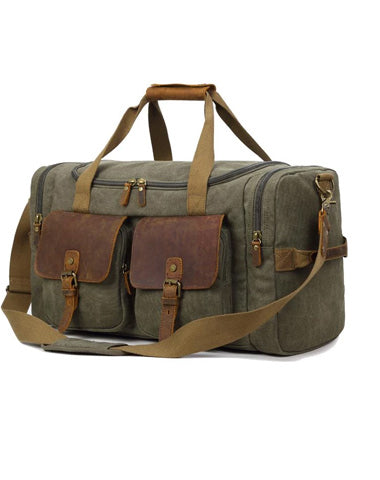 Canvas Leather Mens Large Black Weekender Bag Gray Duffle Bag Luggage Bag for Men