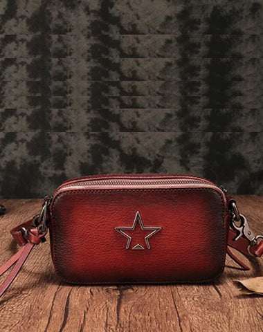 Vintage Red Leather Womens Clutch Side Purse Small Cube Shoulder Bag Leather Purse Crossbody Bags
