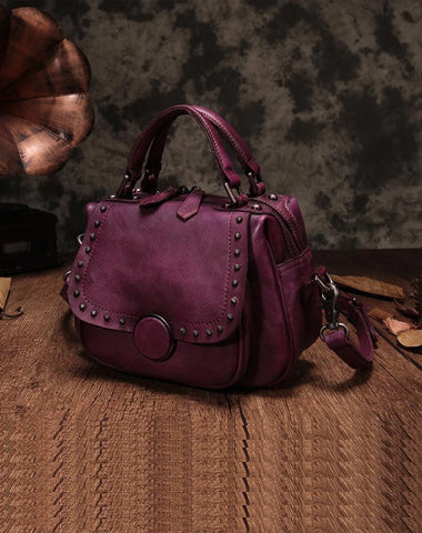 Purple Vintage Womens Leather Rivet Handbag Brown Side Bag Satchel Bag Purse for Ladies