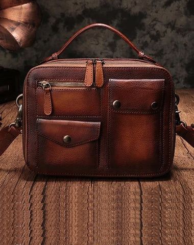 Vintage Womens Brown Leather Satchel Shoulder Bag School Handbag Shoulder Purse for Girls