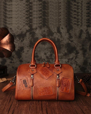 Vintage Womens Brown Leather Boston Handbags Brown Boston Shoulder Handbag Crossbody Bags