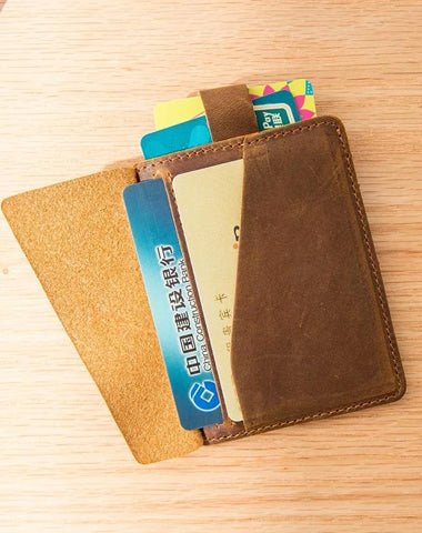 Brown Cool Leather Mens Card Holder Thin Front Pocket Wallet Vintage Slim Card Wallet for Men