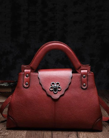 Red Vintage Leather Ladies Satchel Handbag Brown Shoulder Bag Purse for Women